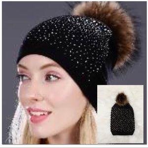 🆕 Brand Knit Beanie with Faux Fur Pom Pom